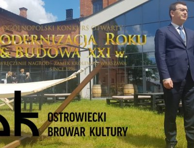 """Ostrowiecki Browar Kultury powalczy o tytuł """"Modernizacja Roku 2019"""". Jego logotyp ważnym elementem promocji miasta"""