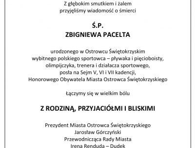 Smutek i żal po śmierci Zbigniewa Pacelta – Honorowego Obywatela Miasta Ostrowca Świętokrzyskiego